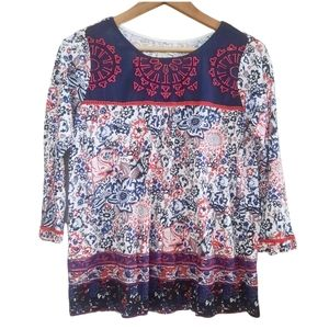 Lucky Brand Embroidered Floral Peasant Blouse Boho Bohemian S